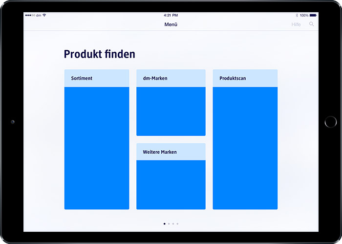 image: iPad prototype 1: start screen with first category