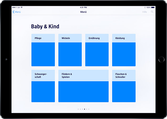 image: iPad prototype 1: submenu category baby & children