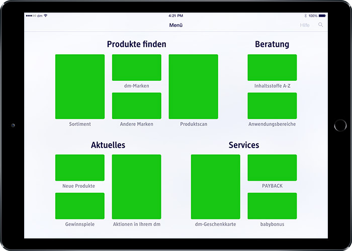 image: iPad prototype 2: start screen with all categorie